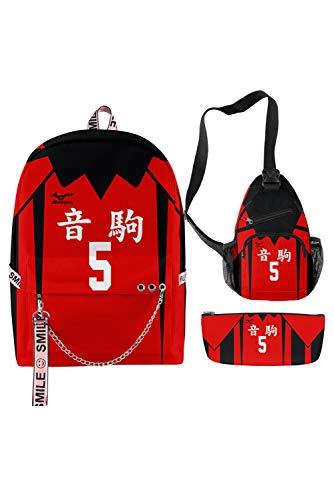 3 Stück Anime Nekoma High School Volleyball Club Kozume Kenma Nr.5 Rucksack Set Schultertasche Henkeltasche Handgelenkstasche Handtasche Geldbeutel Hüfttasche Schüler Schultasche B Version Rot