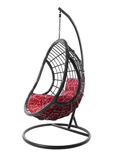 tempere kidea Kideo® 3088 Red Frizzy - Set completo: poltrona sospesa con telaio e cuscino
