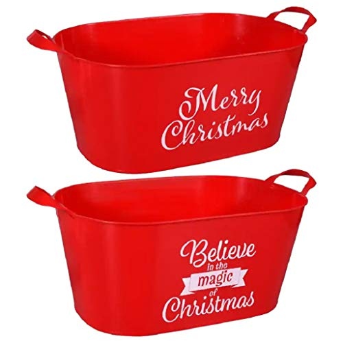DSTC Red Christmas Sentiment Oval Buckets, Set of 2