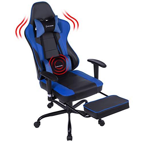 VON RACER Massage Gaming Stuhl - Hohe Rückenlehne Racing Computer Schreibtisch Bürostuhl Drehbarer Ergonomischer Chefsessel aus Leder mit Fußstütze und Verstellbaren Armlehnen, Blau
