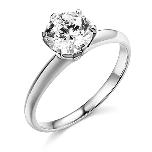 14k REAL White Gold SOLID Wedding Engagement Ring - Size 5
