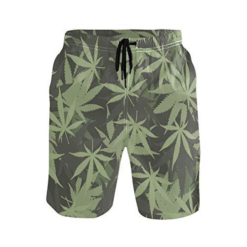 Hunihuni Herren Strand Shorts Marihuana Unkrautmuster Drawsting Badehose Badeanzug Bademode Netzfutter mit Tasche Gr. XL, mehrfarbig