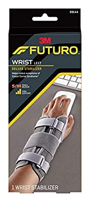 Futuro Deluxe Wrist Stabilizer, Firm Stabilizing Support, Left Hand, Small/Medium, Gray