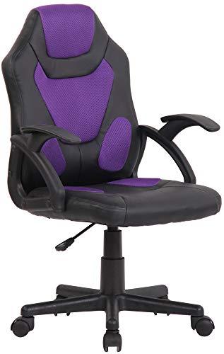 CLP Kinder Bürostuhl Dano I Höhenverstellbarer Schreibtischstuhl Mit Armlehnen I Mix aus Kunstleder Und Netzbezug, Farbe:schwarz/lila