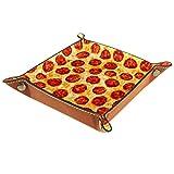 MEITD Organizador de almacenamiento de escritorio – Bandeja multiusos de piel sintética para mesita de noche, soporte de dados para llaves, teléfono, cartera, moneda, joyería Pepperoni Pizza A Food