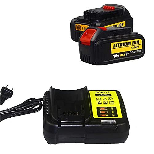 MIJPOJAN Llave de impacto eléctrica inalámbrica, paquete de 2 baterías de repuesto de iones de litio de 5,0 Ah 18 V para Dewalt DCB200 DCB180 DCB181 DCB182 DCB184 DCB201 Batería de herramienta eléctr