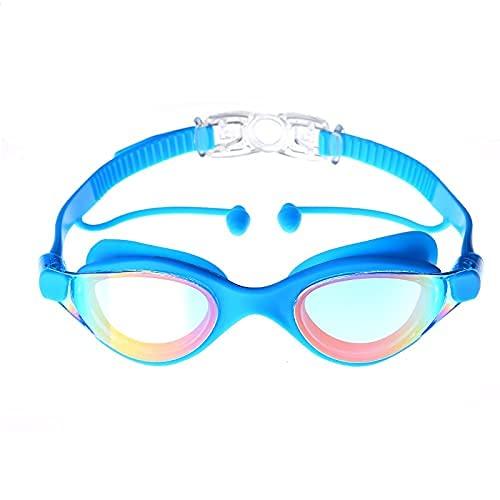 Peakfeng Niños Natación Gafas Profesionales Natación Gafas Nadando con Tapones para los oídos Globos Impermeables Anti-Fog Anti -UV Gafas de Silicona Electroplate (Color : Sky Blue)