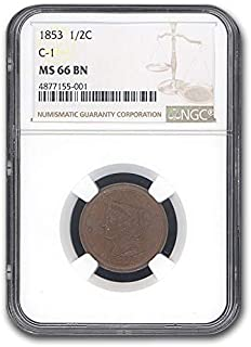 1853 Half Cent MS-66 NGC (Brown, C-1) Cent MS-66 NGC