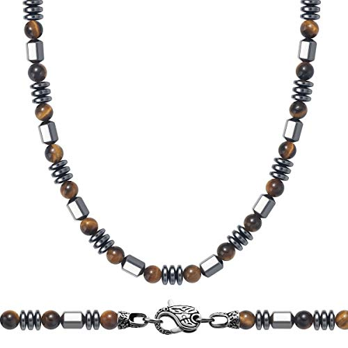 WESTMIAJW Mens Yellow Tiger Eye Magnetic Hematite Beads Beaded Necklace Chain Natural Healing Crystals Jewellery 50cm