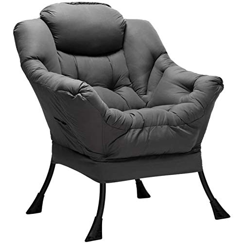 HollyHOME Armchair Accent Chair Lazy Chair Modern Fabric Relax Lounge Chair with Armrests Leisure Sofa Chair with Steel Frame, Dark Grey