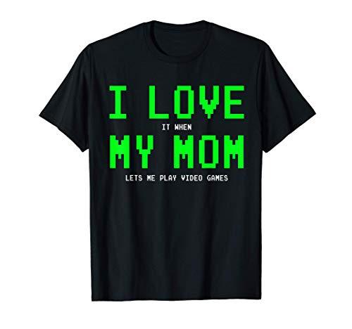I Love My Mom Shirt - Gamer Gifts for Teen Boys Video Games T-Shirt