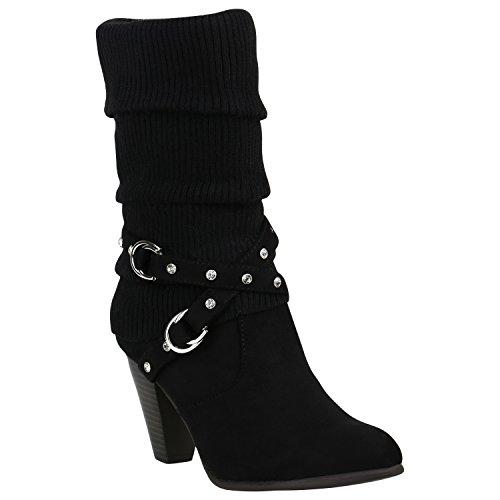Klassische Damen Stiefel Gefüttert Stulpen Wildleder-Optik Schuhe 151520 Schwarz Strass 36 Flandell
