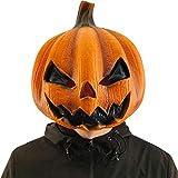 CreepyParty Halloween JackoLantern Pumpkin Face Head Masks Novelty Scary for Party and Trick or Treat Orange