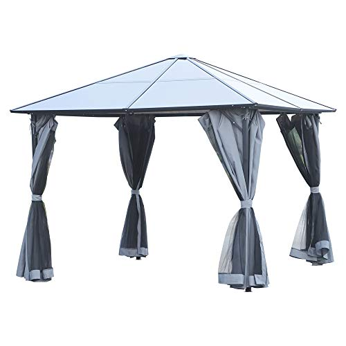 Outsunny 3 x 4m Garden Aluminium Gazebo Hardtop Roof Canopy Marquee Party Tent Patio Outdoor Shelter with Mesh Curtains & Side Walls - Grey