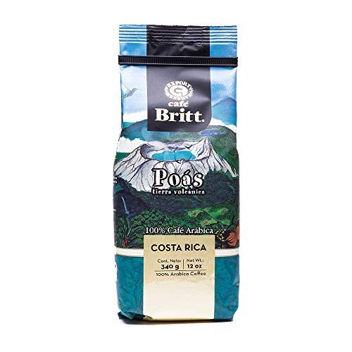 Cafe Britt Poas Volcanic Earth Ground Coffee, 12 Ounce Bag