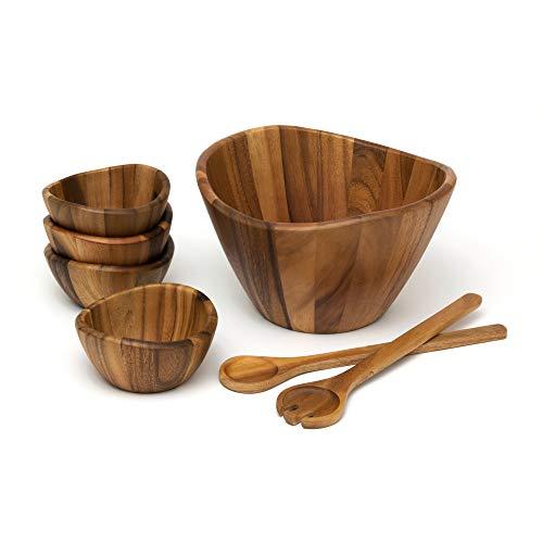 Lipper International Acacia Wave Bowl Set with Servers
