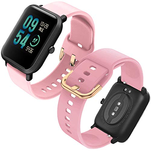 Th-some Correa para Amazfit GTS Impermeable Universal - Reemplazo de Pulsera Ajustable para Xiaomi Huami Amazfit Bip/Amazfit Bip bit Lite Youth/Amazfit GTR 42mm Watch, Sin Tracker (Rosa)