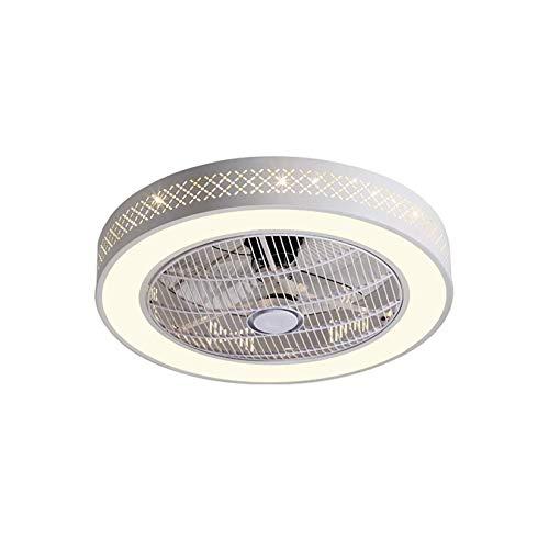 HAOQI Ventilador de techo Ventilador Luz de techo LED con control remoto Regulable Creativo Moderno Ventilador de techo silencioso Lámpara de dormitorio Lámpara de techo para guardería, Ø55cm, 96W