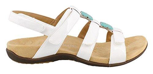 Vionic Womens Amber T-Strap Sandal, White Patent, 9 C/D US