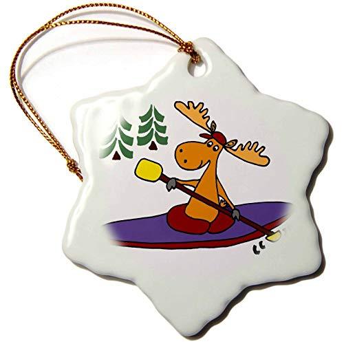 Blake55Albert D Rose Funny Cool Moose is Kayaking Christmas Ornaments for Kids Christmas Tree Decoration