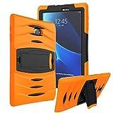 KIQ Samsung Galaxy Tab E 9.6' SM-T560 Case, Shockproof Heavy Duty Military Armor Hybrid Case Cover Rugged Impact Drop Protection for Samsung Galaxy Tab E 9.6 T560 T560NU T560NZ T567 (Orange)