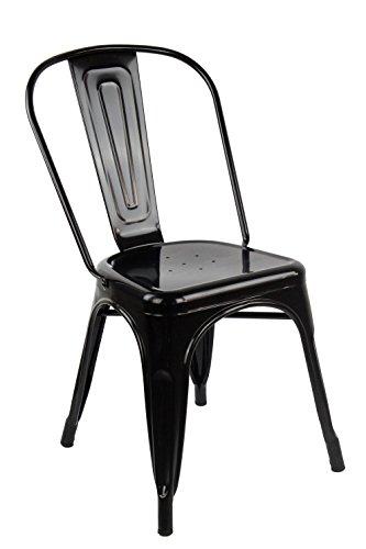 ARREDinITALY - Juego de 4 sillas Industrial Tolix – Réplica de Metal Lacado Negro