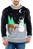 Tipsy Elves Ugly Christmas Sweater for Men Carrot Trail Nightmare Funny Snowman Themed Holiday Pullover for Guys Size Medium