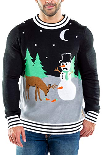 Tipsy Elves Ugly Christmas Sweater for Men Carrot Trail Nightmare Funny Snowman Themed Holiday Pullover for Guys Size Large