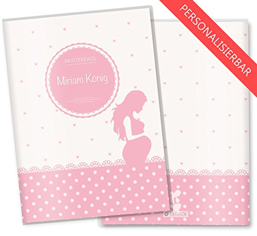 Mutterpasshülle 3-teilig rosa Herzchen Babybauch Schwangerschaft Geschenkidee personalisierbar mit Namen (Mutterpass personalisiert, Babybauch)