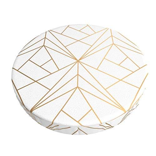 Funda de Asiento para Silla Patrón geométrico Dorado con Brillo Blanco Material Ploiéster Duradero Fundas Decorativas para sillas de Comedor 13in