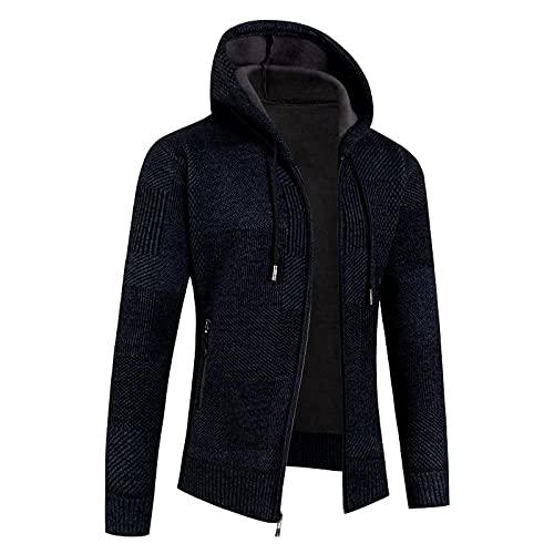 MTENG Men's Hooded Coats Full Zip Knitted Cardigan Sweater Cable Knit Hoodies Jacket Pullover with Pocket