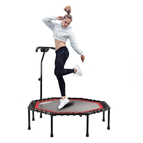 ONETWOFIT Durchmesser Leises Trampolin mit höhenverstellbarem Haltegriff, Fitness-Trampolin Training wie im Fitness-Studio Trainer Workout für Erwachsene