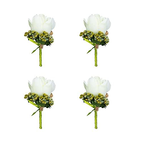 4 pièces Boutonniere Mariage, Boutonniere Fleur, Marié Homme Costume de Décoration, pour Mariage, Anniversaire, Bal de Promo, Cérémonie, Anniversaire, Dîner Formel et Autres (Blanc)