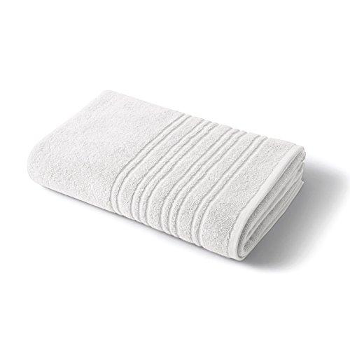 Tradition des Vosges Drap de Bain Serviette de Douche Serviette de Toilette Unie 550g 100% Coton 50 x 100 cm Blanc Neige