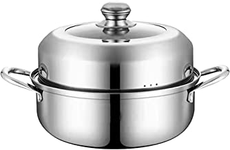 Minkissy Steaming Cookware, Soup Steaming Pot Stainless Steel Steam Pot Multifunctional Soup Pot for Home Kitchen