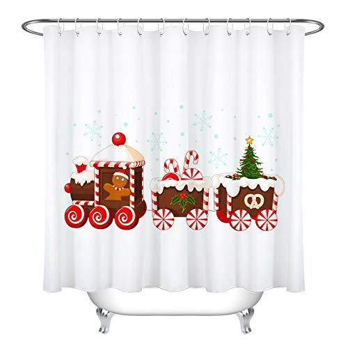 JHTRSJYTJ Kreative Weihnachtszug süße Süßigkeit Duschvorhang ist geeignet für Badezimmer,Polyester wasserdicht,12Haken,180X180cm,Wohnkultur