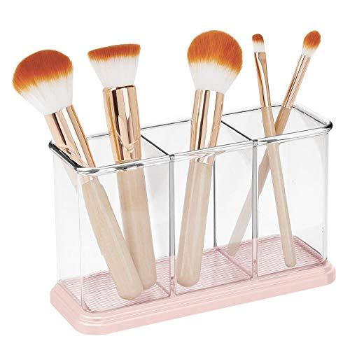 mDesign Práctico Organizador de Maquillaje – Decorativa Caja para Guardar cosméticos como esmaltes de uñas o polveras – Expositor de Maquillaje con 3 Compartimentos –...