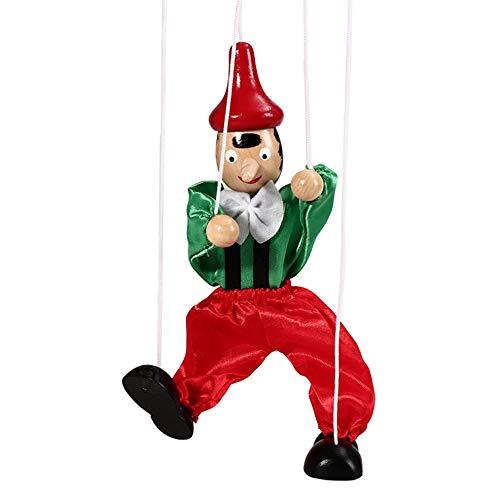 VSTAR66 Marionette Holzspielzeug, bunte Handarbeit, Clownpuppe für Eltern-Kind-Interaktion, Geschenk für Jungen und Mädchen, - > > > > > >, siehe abbildung, A