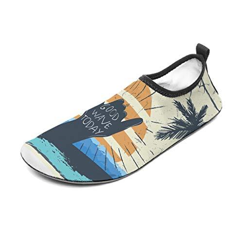 Wraill – Zapatillas de playa, zapatos descalzos, calcetines, buena ola hoy, playa, palmera, moda, para el mar, playa, natación, surf, Unisex, blanco, 46/47