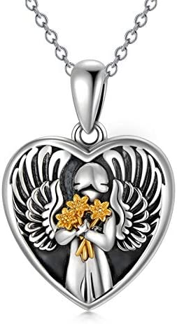 Angel Heart Shape Locket Necklace that Holds Pictures Sterling Silver Sunflower Pendant 18 19 product image