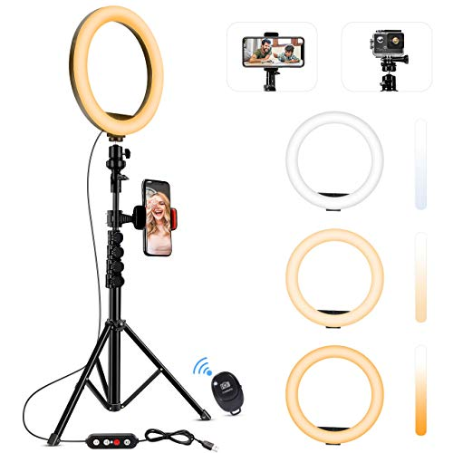 "Fostoy LED Ring Light, 10"" Selfie Ring Light with Tripod Stand and Phone Holder, Camera Circle Ringlight for Live Streaming, YouTube Video, Photography, and Makeup, Compatible with iOS & Android"
