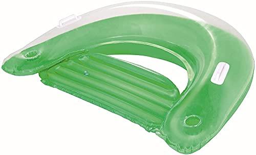 Aufblasbarer Sessel für Pool | Wassersitz | Float Chair | Schwimmsitz | Pool Lounge | Luftmatratze mit Getränkehalter | Luftsessel | Pool Sitz für Erwachsene | Pool Zubehör Spaß | Grün