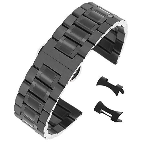 22mm spazzolato cinturini neri degli uomini 304 inox cinturini per orologi ss acciaio solido con estremità diritta e piegata