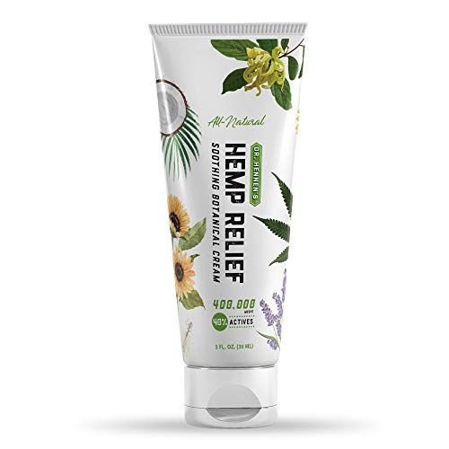 Dr. Hennen's Hemp Relief Cream for Muscles, Joints and Back, Extra Strength 400,000 mcg 40% Actives with Shea Butter, Sunflower, Aloe Vera, Peppermint, Frankincense, Lavender, More Essential Oils