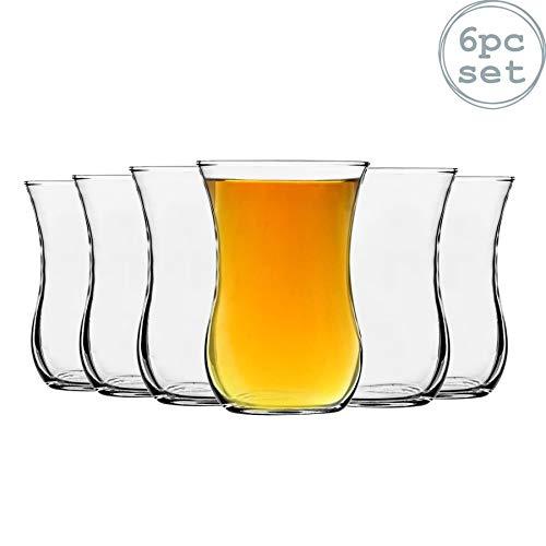 LAV Klasik de vidrio tazas de té para el café, bebidas calientes - e