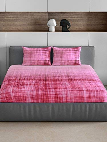 4everWithU Shandaar Occasions 300 TC Cotton Bedsheet with 2 Pillow Covers - Magenta FZC#341