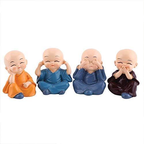 Sawcart Set of 4 Baby Buddha Monks Idol Figurine Decorative Miniature Showpiece Feng Shui Statue for Car Dashboard, Home & Office Décor, Table, Wall Shelf