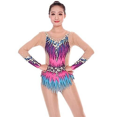 PATNICK Rhythmische Gymnastik Trikot Performance Kleidung Anpassen Patchwork Kinder Erwachsene Gymnastik Anzug Show Wettbewerb Eiskunstlaufkleid,Multi-Colored-M