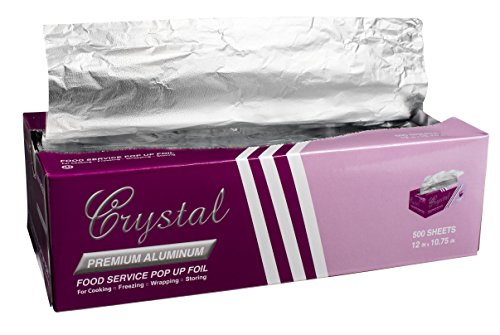 Crystal by crystalware FPU9103000B Premium Aluminum Foil Pop Up Sheets, 9' x 10.75' 500 Sheets