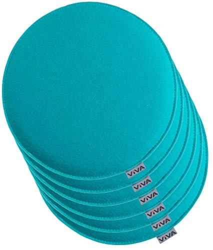 Brandsseller Cojín de fieltro redondo para silla, acolchado, diámetro de 35 cm, 6 unidades, color turquesa